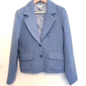 CAbi Blue/Grey Tweed Wool Blend Blazer